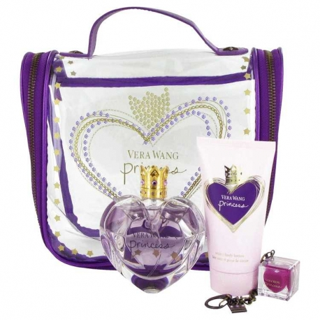 Vera Wang Princess Gift Set 1.7 oz Eau De Toilette Spray + 2.5 oz Body Lotion + .11 oz Lip Gloss + Travel Bag