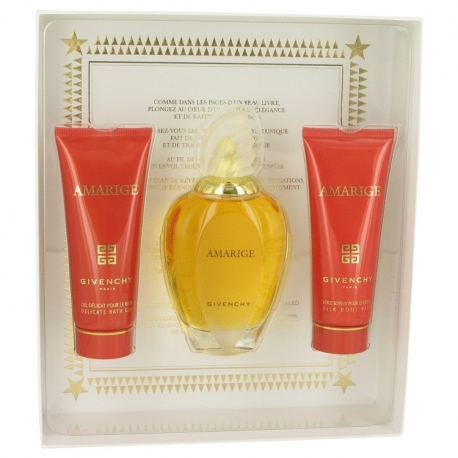 Givenchy Amarige Gift Set 3.3 oz Eau De Toilette Spray + 2.5 oz Body Lotion + 2.5 oz Bath Gel