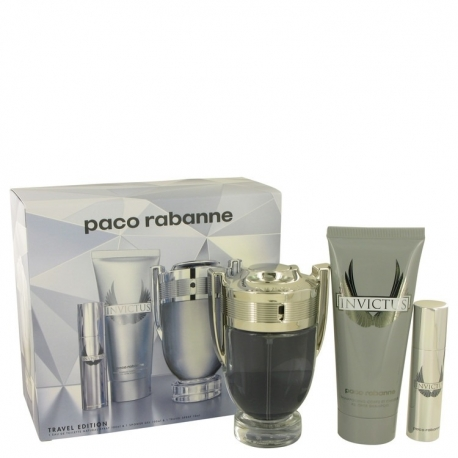 Paco Rabanne Invictus Gift Set 3.4 oz Eau De Toilette Spray + .34 oz Mini EDT Spray +3.4 oz Body Wash
