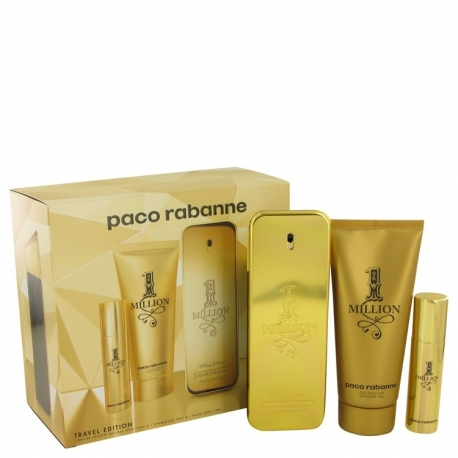 Paco Rabanne 1 Million Gift Set 3.4 oz Eau De Toilette Spray + .34 oz Mini EDT Spray + 3.4 oz Shower Gel