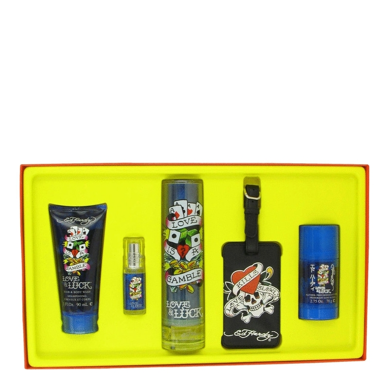 Ed Hardy Love And Luck By Christian Audigier: Christian Audigier Ed Hardy Love & Luck For Him Gift Set 100 Ml Eau De Toilette Spray + 90 Ml