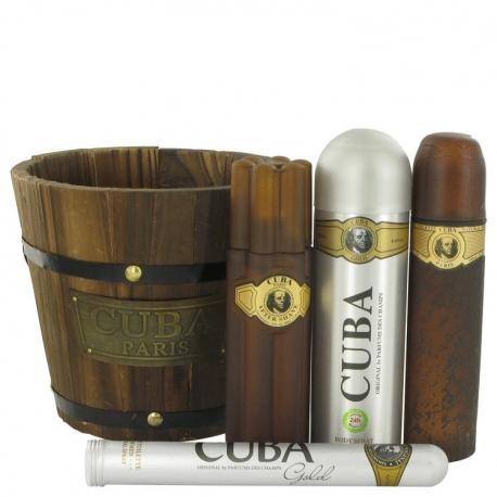Fragluxe Cuba Gold Gift Set 100 ml Eau De Toilette Spray + 35 ml Oz Eau De Toilette Spray + 200 ml Body Spray + 100 ml After
