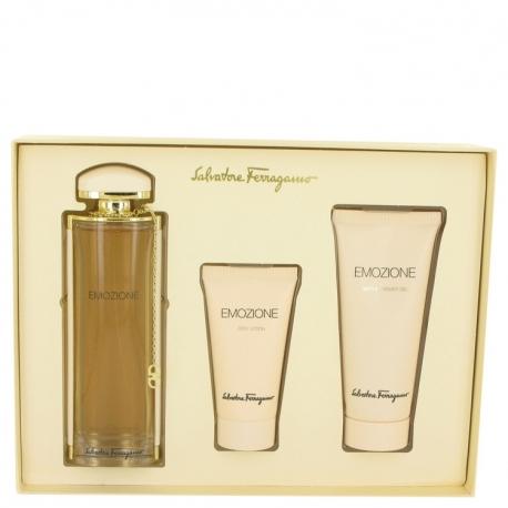 Salvatore Ferragamo Emozione Gift Set 90 ml Eau De Parfum Spray + 50 ml Body Lotion + 100 ml Shower Gel