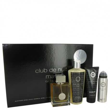 Armaf Club De Nuit Gift Set 3.6 oz Eau De Toilette Spray + 1.7 oz Body Spray + 3.4 oz Shower Gel + 8.4 oz Shampoo with