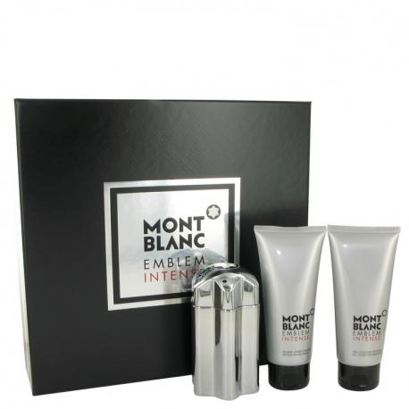 Montblanc Emblem Intense Gift Set 3.3 oz Eau De Toilette Spray + 3.3 oz After Shave Balm + 3.3 oz Shower Gel