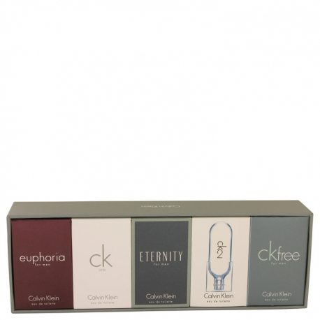 Calvin Klein Eternity Gift Set Deluxe Travel Mini Set Includes Euphoria, CK One, Eternity, Ck 2 and CK Free, All are .33 oz
