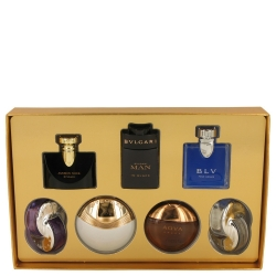Bvlgari Aqva Amara Gift Set Seven piece Iconic Miniature Collection All .17 oz Travel Mini's (Omnia Amethyste, Jasmin Noir