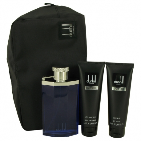 Alfred Dunhill Desire Blue Gift Set 3.4 oz Eau DE Toilette Spray + 3 oz Shower Gel + 3 oz After Shave Balm + Bag