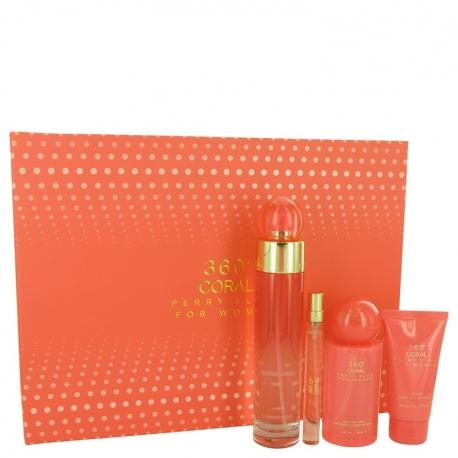 Perry Ellis 360° Coral Gift Set 3.4 oz Eau De Parfum Spray + .33 oz Mini EDP Spray + 2 oz Hand Cream + 4 oz Body Mist Spray