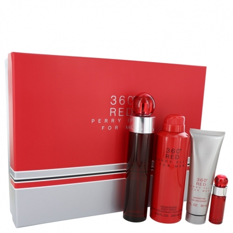 Perry Ellis 360° Red Gift Set 3.4 oz Eau De Toilette Spray + .25 oz Mini EDT Spray + 6.8 oz Body Spray + 3 oz Shower Gel