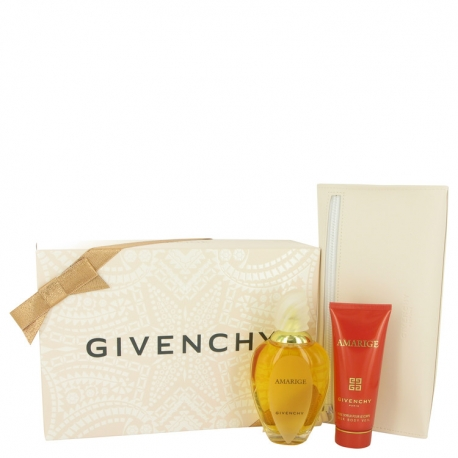 Givenchy Amarige Gift Set 3.3 oz Eau De Toilette Spray + 2.5 oz Silk Body Lotion + Pouch