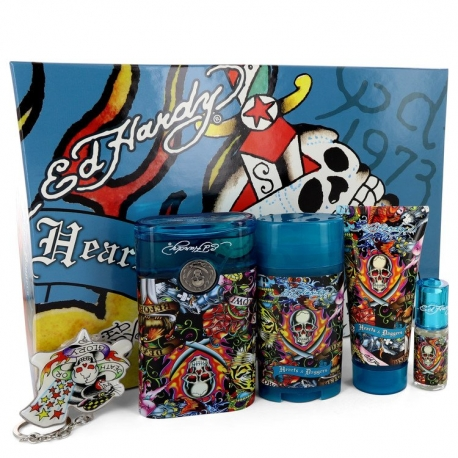 Christian Audigier Ed Hardy Hearts & Daggers For Her Gift Set 3.4 oz Eau De Toilette Spray + 3 oz Shower Gel + 2.75 oz