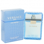 Versace Man Gift Set 3.4 oz Eau Fraiche Eau De Toilette Spray + 0.3 oz Mini EDT Eau Fraiche Spray In Versace Blue Pouch