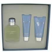 Dolce & Gabbana D&g Light Blue Gift Set 4.2 oz Eau De Toilette Spray + 2.5 oz After Shave Balm + 1.7 oz Shower Gel