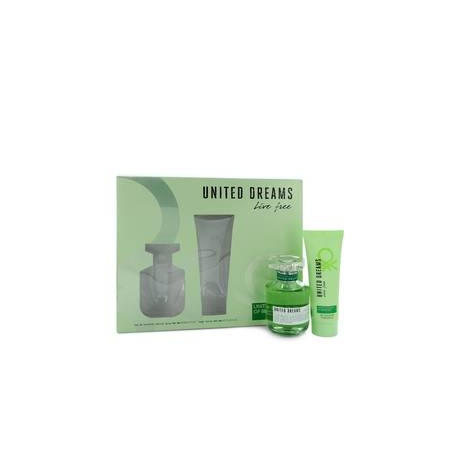Benetton United Dreams Live Free Gift Set 2.7 oz Eau De Toilette Spray + 2.5 oz Body Lotion