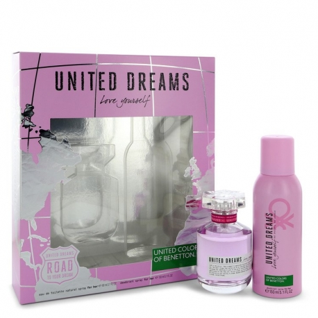 Benetton United Dreams Love Yourself Gift Set 2.7 oz Eau De Toilette Spray + 5.1 oz Deodorant Spray