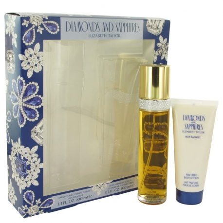 Elizabeth Taylor Diamonds & Saphires Gift Set 100 ml Eau De Toilette Spray + 100 ml Body Lotion