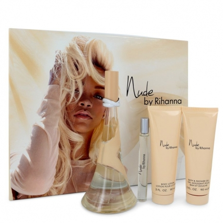 Rihanna Nude Gift Set 100 ml Eau De Parfum Spray + 90 ml Body Lotion + 90 ml Shower Gel + 10 ml Mini EdP Spray