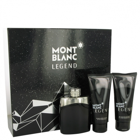 Montblanc Legend Gift Set 3.3 oz Eau De Toilette Spray + 3.3 oz After Shave Balm + 3.3 oz Shower Gel