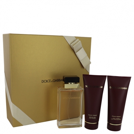 Dolce & Gabbana pour Femme Gift Set 3.4 oz Eau De Parfum Spray + 3.4 oz Shower Gel + 3.4 oz Body Lotion
