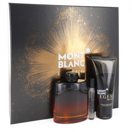 Montblanc Montblanc Legend Night Gift Set 3.3 oz Eau De Parfum Spray +.25 oz Mini EDP Spray + 3.3 oz After Shave Balm