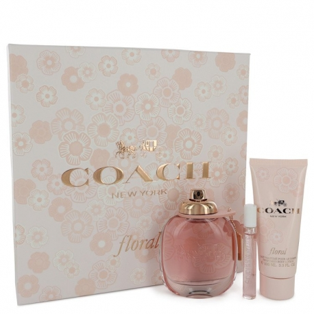 Coach Coach Floral Gift Set 3 oz Eau De Parfum Spray + .25 oz Mini EDP Spray + 3.3 oz Body Lotion