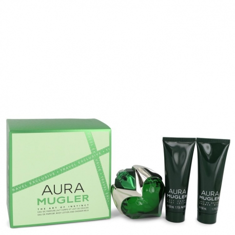 Thierry Mugler Mugler Aura Gift Set 1.7 oz Eau De Parfum Spray + 1.7 oz Body Lotion + 1.7 oz Shower Milk