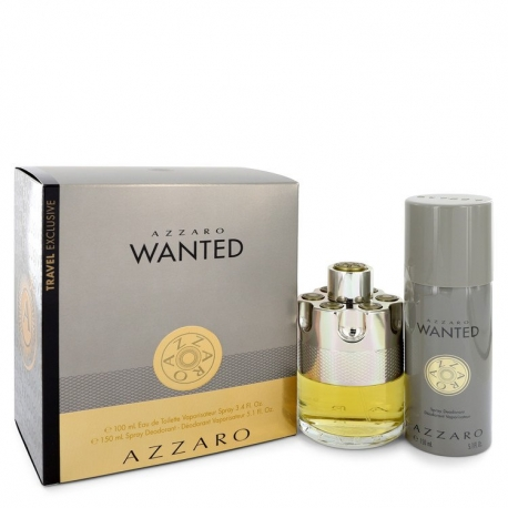 Azzaro Wanted Gift Set 3.4 oz Eau De Parfum Spray + 5.1 oz Deodarant Spray