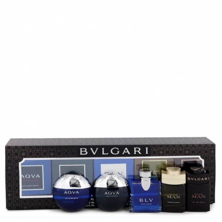 Bvlgari Man In Black Gift Set Travel Size Gift Set Includes Bvlgari Aqua Atlantique, Aqua Pour Homme, BLV, Man Wood Essence,